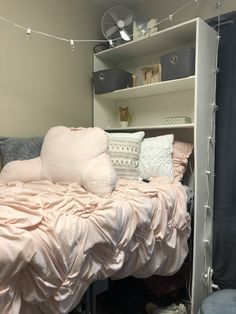 Dorm room headboard shelf