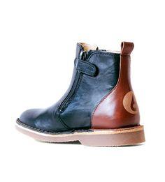 Zipper boot black/cognac