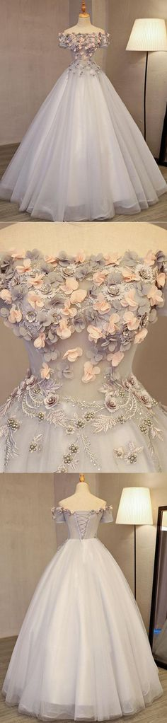 #Off-the-shoulder Prom Dress #Hand-Made Flower Prom Dress #fashion Prom Dress #long Prom Dress #popular Prom Dress #A-line Prom Dress #Appliques prom dress #beading prom dress