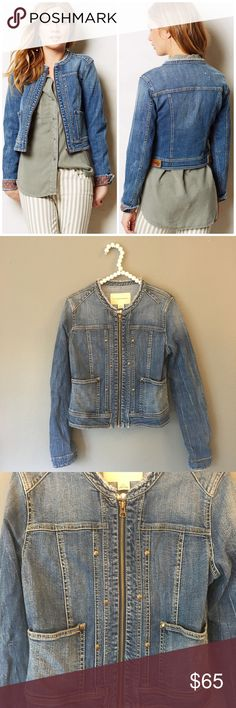 Anthropologie Pilcro Collarless Denim Jacket So cute and perfect for spring and summer! Excellent pre owned condition! Splatter effect to back. Stud detail. Frayed collarless detail. No trades!! 04151750gwpg Anthropologie Jackets & Coats Jean Jackets