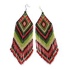 Large colorful seed bead earrings red and green by Anabel27shop