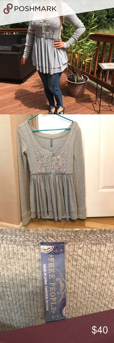 🌸 Free People- long sleeve tunic (S) Beautiful and comfy long sleeve tunic. The top it's thermal material and fitting. It flairs out into two lairs at the waist to show off your beautiful figure. No tags but never worn- unfortunately it wasn't my size Free People Tops Tees - Long Sleeve