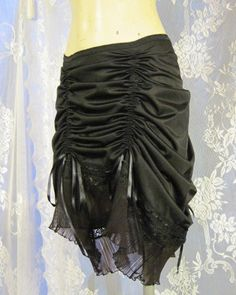 Victorian Black Up-Cycled Slip Skirt by getjuliet on Etsy