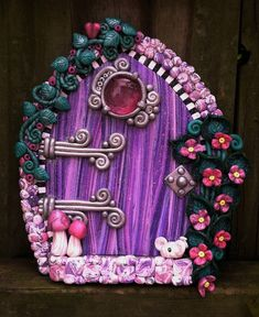 Lilac Blossoms Fairy Door pixie portal in polymer clay by pinkchihuahuacrafts