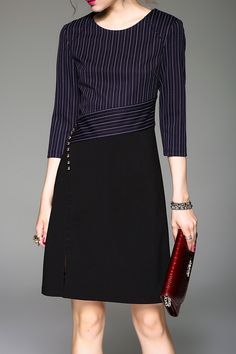 Side Slit Stripe Dress #fashionismypassion