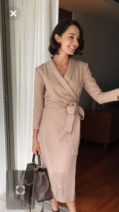 Neutral Wrap Dress.