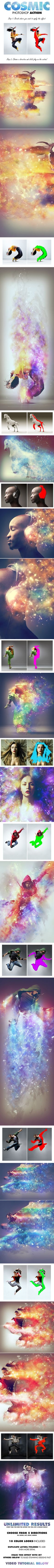 Cosmic Photoshop Action - Create this highly detailed effect from your photos with little effort at all. Make sure to watch the customisation tutorial on how to get the most out of this effect. The action has been tested and working on Photoshop CS4,CS5,CS6,CC+