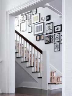 Hallway Decorating Ideas With White Wall Color And Staircase With Wall Mounted Picture Framed Also Dark Grey Laminte Flooring Color Home Design, Decoration, Interior Design Excellent Narrow Hallway Decorating Ideas Design Hallway Decorating, Decorating Ideas, Decor Ideas, Display Homes, Home And Deco, Stairways, Home Decor Inspiration, Home Projects, Home Accessories
