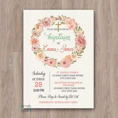 Baptism Invitation Girl, Baptism Invitation Printable, baptism invites, baptism girl invitations, christening girl, girl baptism invitation