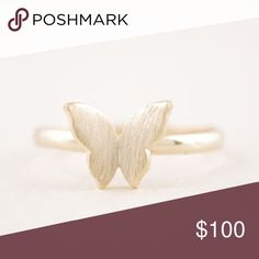 Butterfly Rings 18k gold plated, silver plated,rose gold plated. Please let me know which one before you buy it to make sure I have it   I wear a 7 and this is tight so it is either a 6 or 6.5 Jewelry Rings