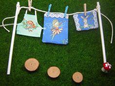 Fairy Washing Line Stepping Stones Fairy Garden Accessories Blue Fairy Bedding