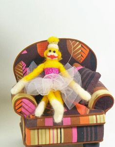 Yellow Needle Felted Miniature Sock Monkey Prima Ballerina, Soft Sculpture - pinned by pin4etsy.com