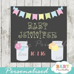 Chalkboard bunting custom mason jar labels personalized with the text of your choice. The printable mason jar labels  can be printed on cardstock or sticker paper for a variety of uses including Favor Tags, Gift Bag Tags, stickers labels and more! #babyprintables