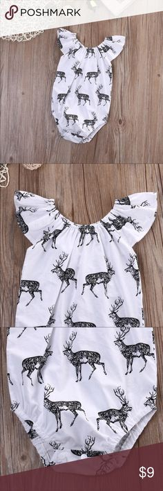 Sweet deer onesie Only worn once for my daughters 1year photos! EUC. Super adorable 🦌 One Pieces Bodysuits