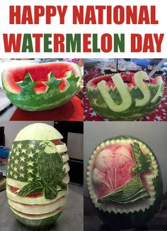 Happy Check out these patriotic melons! National Watermelon Day, For Your Party, House Party, Some Fun, Holiday Fun, Party Planning, Fruit, Happy, Campaign