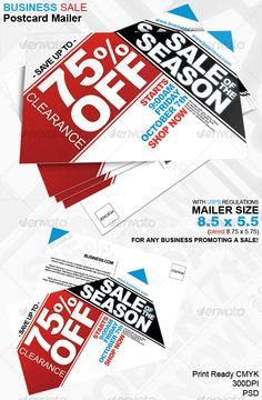 Business Sale Postcard Mailer 8.5 x 5.5  #postcard #sale #save • Available here → http://graphicriver.net/item/business-sale-postcard-mailer-85-x-55/81200?s_rank=26&ref=pxcr