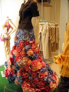 This skirt was made of silkflowers. It was seen in a high fashion dress store in Rome.