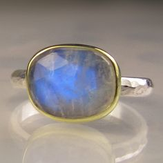 Rose Cut Rainbow Moonstone Ring 18k Gold and by JanishJewels, $128.00