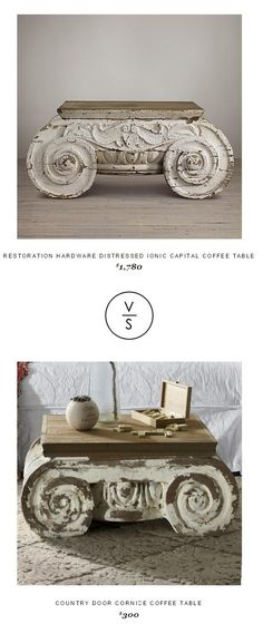 Restoration Hardware Distressed Ionic Capital Coffee Table $1,780 Vs @countrydoor Cornice Coffee Table $300