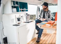 Nissan has joined forces with UK design studio Hardie to turn one of its electric vans into the first-ever all-electric mobile office called the Nissan Electric, Electric Van, Electric Vehicle, Office Electrics, Nissan Vans, Fold Out Desk, Tiny Office, Mobile Office, Buggy