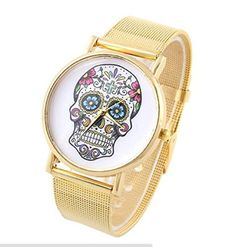 Gold Color Skull Face Stainless Steel Case Wrist Watch by New New Gift -- Awesome products selected by Anna Churchill