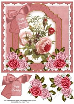 Pink Roses Happy Birthday Floral 8inch Step by Step | Craftsuprint