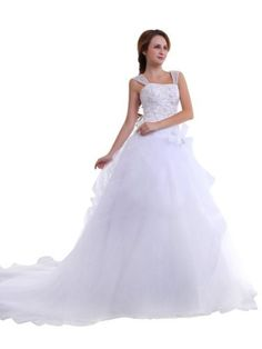 Remedios Boutique Straps Satin and Tulle Bridal Princess Wedding Gown with Appliques, Ivory, S12 Remedios Boutique,http://www.amazon.com/dp/B00BGZL4HQ/ref=cm_sw_r_pi_dp_HFsrrb1BFKV5CCSD