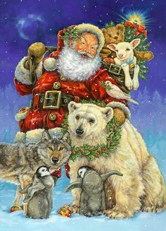 Santa and animals (GIF animation) - Télapó és állatok (GIF animáció) Christmas Scenes, Christmas Animals, Father Christmas, Vintage Christmas Cards, Santa Christmas, Christmas Pictures, Winter Christmas, Christmas Holidays, Illustration Noel