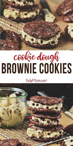 Chocolate Chip Cookie Dough Brownie Cookies are a chewy decadent brownie sandwich cookie filled with chocolate chip cookie dough frosting that gives the whole ensemble a four-star rating from any brownie lover. Print full recipe at TidyMom Cookie Dough Frosting, Cookie Dough Brownies, Brownie Cookies, Chocolate Chip Cookie Dough, Cookie Dough Desserts, Chocolate Brownies, Chewy Oatmeal Cookies, Cookie Dough Cupcakes, Brownie Frosting