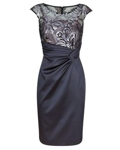 Storm Sequin Mesh and Satin Dress with Waist Tuck Detail