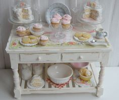 RESERVED  Miniature Bakery Table setting by CynthiasCottageShop - This makes me want a doll house or create shadow boxes