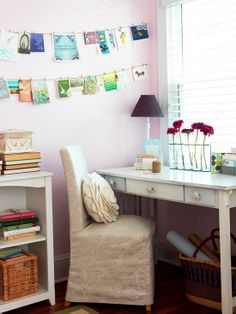 Cards become colorful works of art in this workspace! More organizing ideas:  http://www.bhg.com/decorating/storage/projects/daily-mail-organizing-center/#page=4