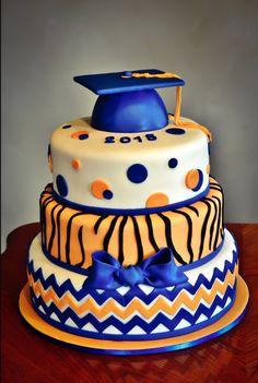 Orange And Blue Graduation Cake on Cake Central