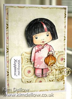 handmade card from La-La Land Crafts Blog: Marci with Lantern ... paper pieced Chinese girls' outfit ... like the daring stripe of pink in her hair ... sweet!!!