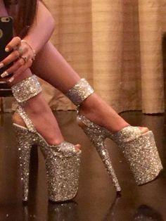 pole dancer shoes stripper heels custom made silver glitter 9 inch high platform shoes #shoeshighheelsglitter