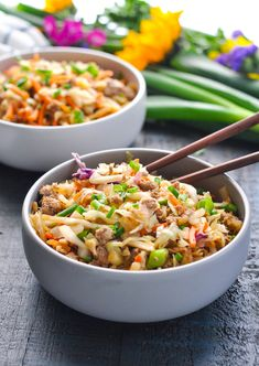 Egg Roll in a Bowl is a healthy one pot meal thats ready in 20 minutes Ground Beef Recipes Ground Turkey Recipes Ground Chicken Recipes Healthy Dinner Recipes Ground Chicken Recipes, Ground Turkey Recipes, Healthy Chicken Recipes, Healthy Dinner Recipes, Delicious Recipes, Egg Recipes, Asian Recipes, Crockpot, Healthy One Pot Meals