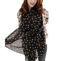 2016 New Stylish Girl Long Soft Silk Chiffon Scarf Brand poncho Wrap Polka Dot Shawl Scarves Shawls For Women Casual Scarfs