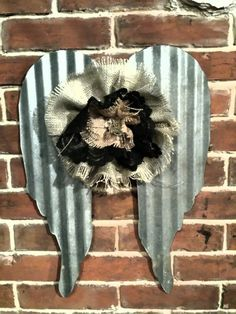 Kansas Barn Tin Wings with Burlap and lace flower by whattawaist