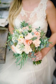 Rustic wedding idea: garden rose and thistle bouquet