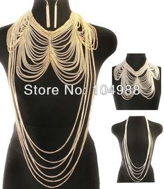FREE SHIPPING 2014 Style B67  WOMEN JEWELRY  FULL BODY CHAIN MULTI-LAYERS SILVER OR GOLD COLLAR BODY CHAIN & EARRINGS