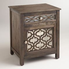 Kiran Antiqued Mirror Cabinet - contemporary - nightstands and bedside tables - World Market