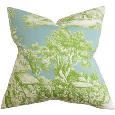Evlia Toile Feather and Down Filled Throw Pillow Green (20-inch), Blue, Size 20 x 20 (Cotton, Floral)