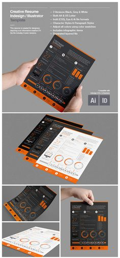 Best Infographic Resume CV Templates (Creative Examples for Infographic Resume Template, Resume Design Template, Creative Resume Templates, Cv Template, Cv Design, Report Design, Design Trends, Design Ideas, Resume References