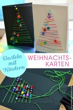 Handicraft instructions for graphic Christmas cards: Advent handicrafts .- Bastelanleitung grafische Weihnachtskarten: Advents-Basteln mit Schulkindern Crafts with children: embroider or sew Christmas cards with pearls - Kids Crafts, Christmas Crafts For Kids, Holiday Crafts, Christmas Bulbs, Diy And Crafts, Christmas Gifts, Holiday Decor, Christmas Post, Christmas Card Ideas With Kids