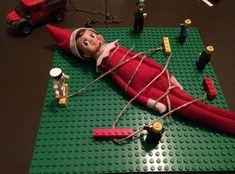 He made the lego people mad. Elf On The Shelf, Kindness Elves, Dishes To Go, Lego People, Christmas Time, Xmas, Owl, Voici, Holiday Decor