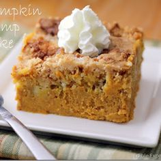 Pumpkin dump cake-one of my favorite fall recipes! The perfect combination of pumpkin pie and cake! I made this today.by far one of the BEST PUMPKIN desserts ever! My small group from church and my husband LOVED IT! Fall Desserts, Just Desserts, Delicious Desserts, Yummy Food, Thanksgiving Desserts, Cupcakes, Cupcake Cakes, Pumpkin Recipes, Fall Recipes