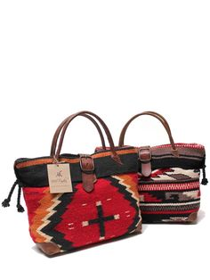 McFadin Wool Navajo Blanket and Leather Trim Women's Tote Bag 434F