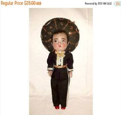 Vintage Spanish Doll,Hispanic Doll,Mexican Doll,Senoir Doll,Boy Doll,Cellluloid Doll,Mexico,Hombre,Spanish,Vintage Doll,Matador,1940s by JunkYardBlonde on Etsy