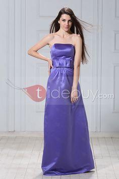 コンサイスAラインストラップレス床まで届く長さ花嫁介添人ドレス