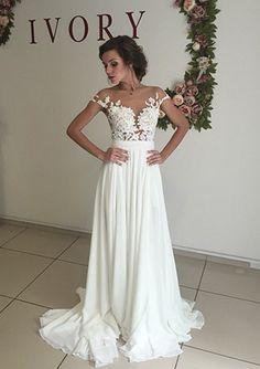 Boho Beach Wedding Dresses With Side Slit on Luulla